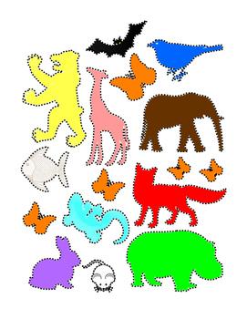 Trace Outline Animals Life-Skills Common-Core Colors Fine Motor Skills Printable