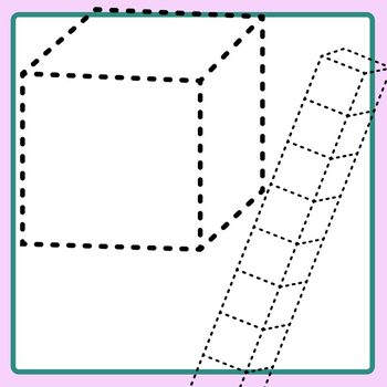 Trace Place Value Blocks - Dashed or Dotted Lines for Tracing Clip Art
