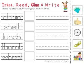 Trace, Read, Glue & Write (Words)