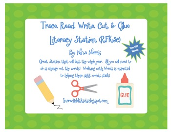 Trace, Read, Write, Cut, and Glue! Literacy Station