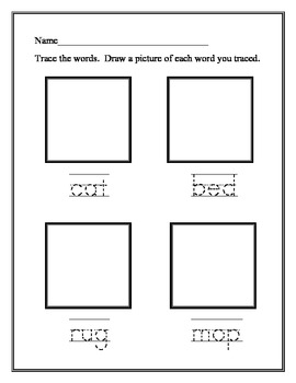 Trace, Read, and Draw - Short and long vowel words