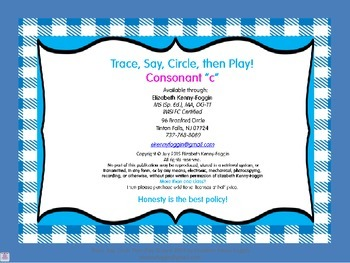 "Trace, Say, Circle then Play - Consonant ""C"""