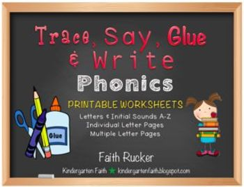 Trace, Say, Glue & Write (Letters and Sounds)