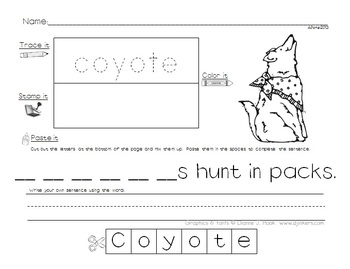 Trace Stamp Color Cut and Paste it, Camping
