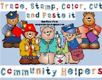 Trace Stamp Color Cut and Paste it,  Community Helpers