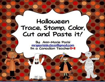 Trace Stamp Color Cut and Paste it, Halloween theme