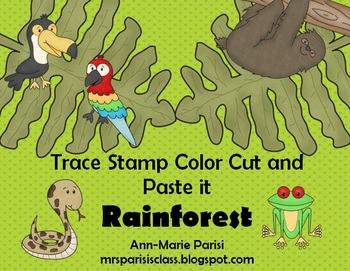 Trace Stamp Color Cut and Paste it, Rainforest