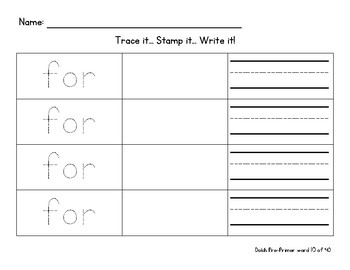 Trace, Stamp, Write word work - ALL Dolch Pre-primer words