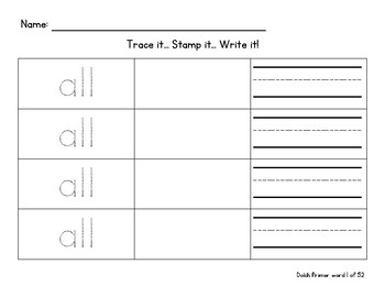 Trace, Stamp, Write word work - ALL Dolch Primer words