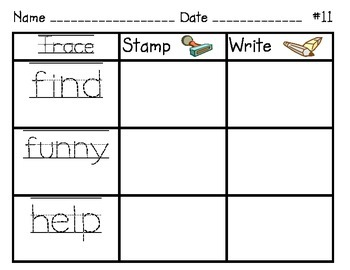 Trace, Stamp, and Write Sight Words
