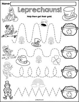 Trace The Pattern: Leprechaun Worksheets