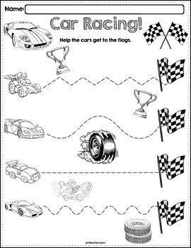 trace the pattern race cars worksheets by prekautism tpt. Black Bedroom Furniture Sets. Home Design Ideas