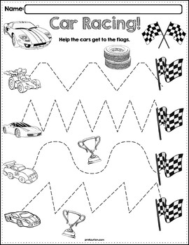 Trace The Pattern: Race Cars Worksheets