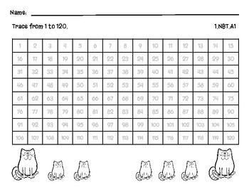 Trace & Write 1-120 Fill in the blank, Assessments, Worksheets