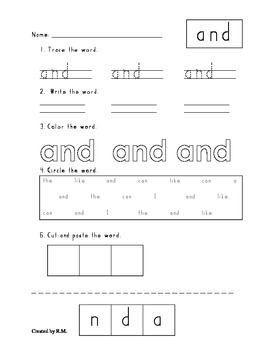 Trace, Write, Color, Find, and Cut & Paste Word Wall Words