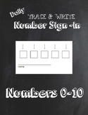 Trace & Write Daily Numbers 0-10 Sign In Sheets