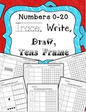 Trace, Write, Draw, Tens Frame Number Sense Counting and Cardinality 0-20 Bundle