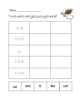 Trace, Write, & Glue Sight Word Center