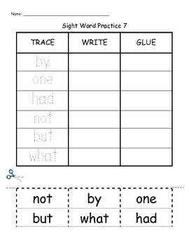 Trace Write Glue Word Wall Practice