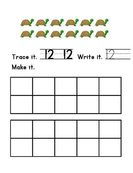 Trace, Write Make Numbers 11-15 Kindergarten Math