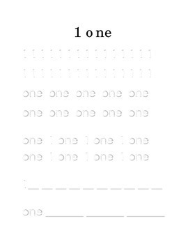 Trace Write Number 1 One Kindergarten Math Center Recognition Printable