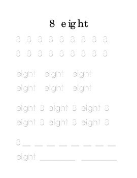 Trace Write Number 8 Eight Kindergarten Math Center Recognition Printable
