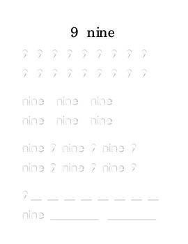 Trace Write Number 9 Nine Kindergarten Math Center Recognition Printable