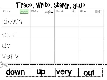 Trace, Write, Stamp, Glue (1st grade Wonders) editable