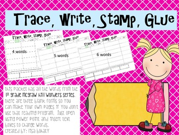 Trace, Write, Stamp, Glue (1st grade Wonders) editable
