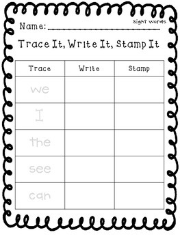 Trace, Write, Stamp Sight Words & Word Families
