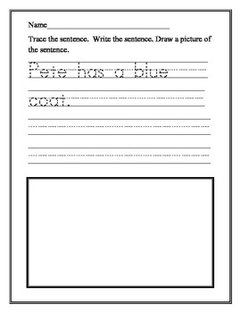 Trace, Write, and Draw - Simple Long and Short Vowel Words and Sentences