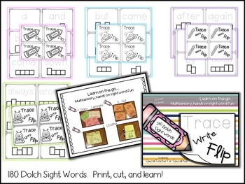 Trace, Write and FLIP-- Kinesthetic Dolch Sight Words