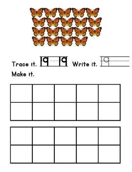 Trace, Write and Make Numbers 11-20 Kindergarten Math
