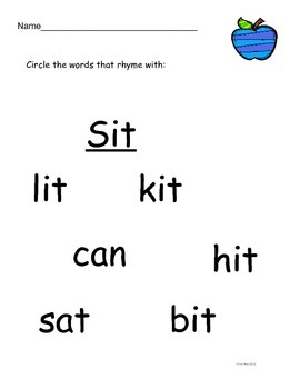 Trace and Circle Rhyming Words