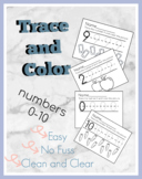 Trace and Color Numbers 0-10 Worksheet Bundle