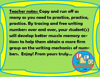 Trace and Free Write Practice Sheets: Numbers (FREE)