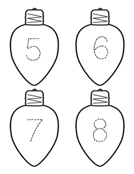 Trace and Order Numbers 1-50 Holiday Lights