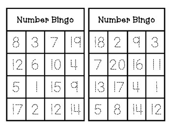 Number Bingo Trace and Play (1-20)