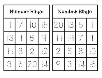 Number Bingo Trace And Play 1 20 By Teks Checklists And More By