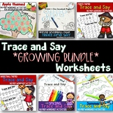 Trace and Say Worksheets for speech therapy: Growing Bundle
