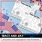 Trace and Say Worksheets: Independence Day Themed Speech a