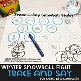 Trace and Say Worksheets: Snowman Themed Activity for Spee