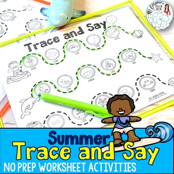 Trace and Say Worksheets: Summer Themed Speech and Language Activity