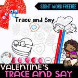Trace and Say Worksheets: Valentine Themed Sight Word Activity