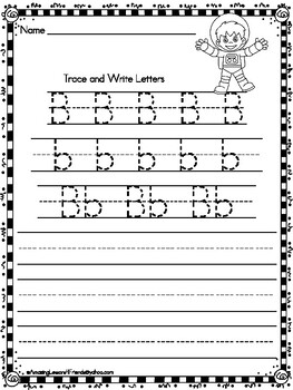 Trace and Write Astronauts Worksheets