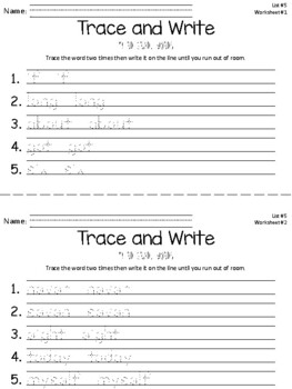 Trace and Write Dolch Words--Third Grade