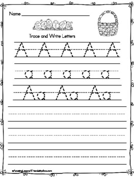 Trace and Write Easter Worksheets