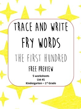 Trace and Write Fry Words List 1 FREE