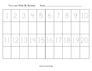 Trace and Write My Numbers 1-10 and 1-20