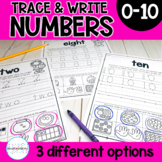 Trace and Write Number Writing Practice Pages 0-10- Distan